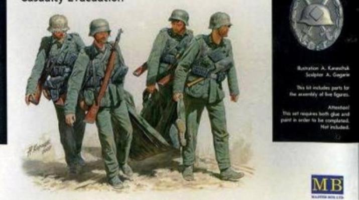 Сборная модель Немецкая пехота с раненым, Сталинград 1942