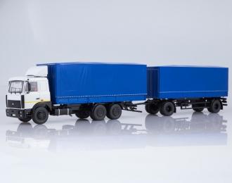 МАЗ-6303 с прицепом МАЗ-83781, белый / синий