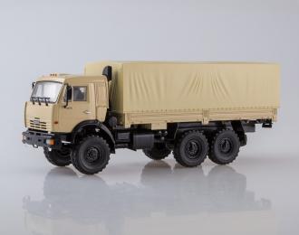 КАМАЗ-43118 6x6 бортовой с тентом, бежевый