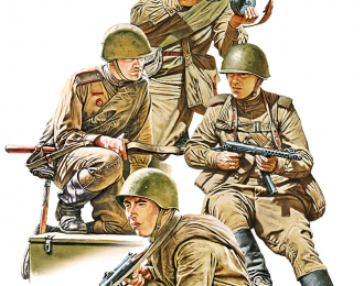 Сборная модель Советские Солдаты Едущие на Танке Набор 2