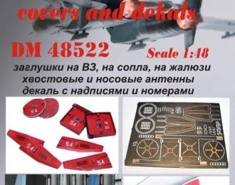 Фототравление Су-27 заглушки на ВЗ, сопла, жалюзи, хвостоввые и носовые антенны+декаль с номерами (ACADEMY)