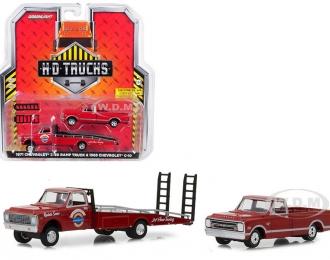 """набор CHEVROLET C-30 Ramp Truck """"Chevrolet Service 24 Hour"""" 1971и CHEVROLET C-10 пикап 1968 Red"""