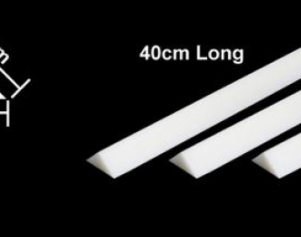 Пластиковые стержни (треугольные белые матовые) сторона 5 мм, длина 40 см. (5 шт), полистирин