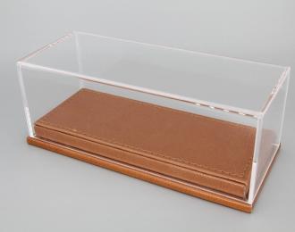Прозрачный бокс подставка из коричневой кожи (173*70*68mm)