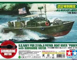 Сборная модель Американский водометный патрульный катер PBR31MkII PIBBER с 4 фигурами, подставкой  и подводным движителем на присоске