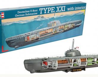 Сборная модель Немецкая подводная лодка Тип ХХI (с интерьером)