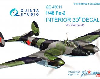 3D Декаль интерьера кабины Пе-2 (для модели Звезда)