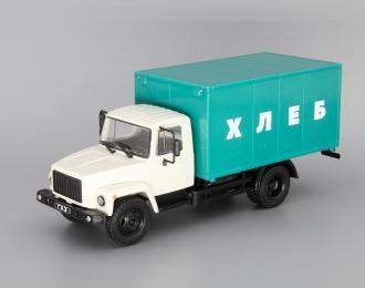"Горький 3307 Фургон ""ХЛЕБ"", Грузовики СССР 10, белый / зеленый"