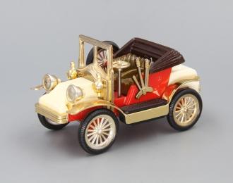 Машинка старинная #3, белый / красный