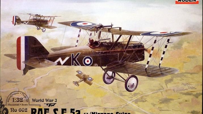 Сборная модель Британский истребитель Royal Aircraft Factory S.E.5a c двигателем Hispano Suiza