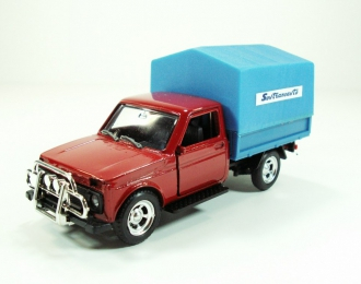Волжский автомобиль 21213 Нива Бизон бортовой с тентом Sovtransavto, красный / голубой