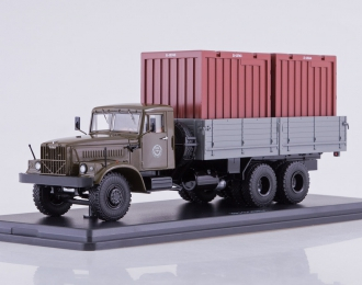 КРАЗ-257Б1 бортовой с контейнерами, хаки / серый