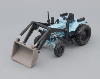 Трактор МТЗ-82 погрузчик без крыши, голубой