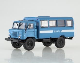 Вахтовый автобус НЗАС-3964 на шасси Горький-66, голубой / белый