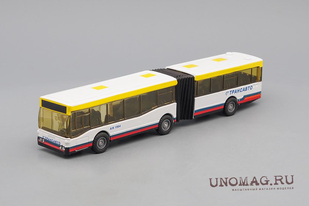Автобус с гармошкой Трансавто, белый / серый / желтый