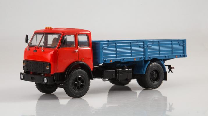 МАЗ-5335 бортовой, красный / синий