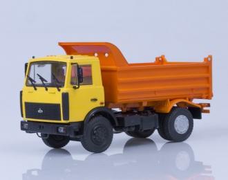 МАЗ 5551 самосвал поздняя кабина высокий кузов (1988), жёлто-оранжевый