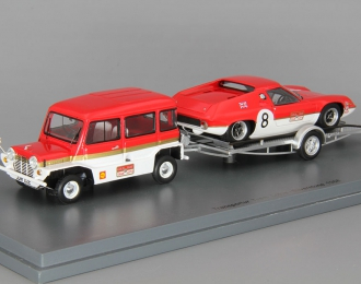 LOTUS 47 на прицепе Gold Leaf Team Lotus Набор: Mini Moke, red