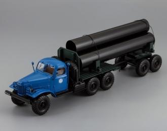 157К/ТВ-5 тягач с роспуском для перевозки труб большого диаметра, синяя кабина