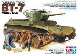 Сборная модель Советский танк БТ-7 (выпуск 1935 г), 2 фигуры, фототравление, наборные траки, 5 вар-тов декалей