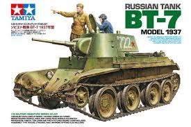 Сборная модель Советский танк БТ-7 (выпуск 1937 г), c фигурами командира танка и офицера, фототравление, наборные траки, 3 вар-та декалей