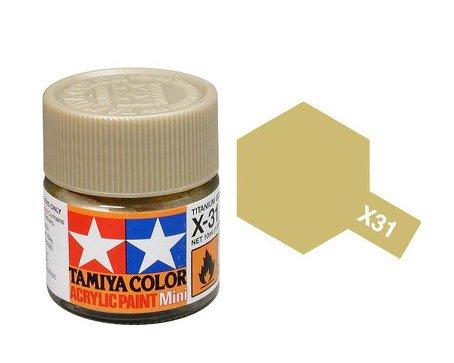 X-31 Titanium Gold (краска акриловая, глянцевый титан золотистый, 10 мл.
